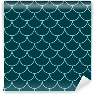 Mermaid tail seamless pattern. Fish skin texture. Tillable background for girl fabric, textile design, wrapping paper, swimwear or wallpaper. Blue mermaid tail background with fish scale underwater. Washable Custom-made Wallpaper