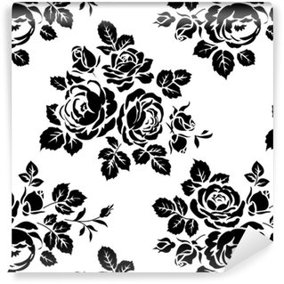 Monochrome seamless background with vintage rose silhouettes. Vector seamless pattern Washable custom-made wallpaper