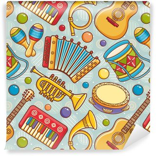 Musical instrument. Seamless pattern. Vector ornament. Cartoon style. Washable Custom-made Wallpaper