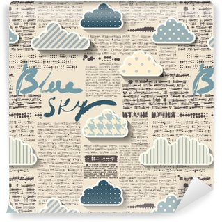 Newspaper with clouds. Washable custom-made wallpaper