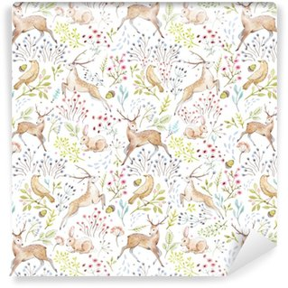 Nice vector watercolor forest pattern Washable custom-made wallpaper