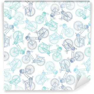 Old Bicycle Seamless Pattern Washable custom-made wallpaper