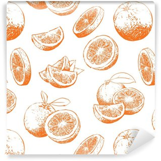 Orange fruit pattern including seamless on background, Vector clip art Washable custom-made wallpaper