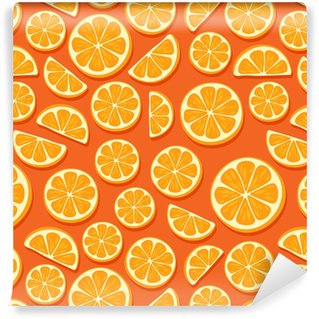 Orange slices seamless pattern. Washable custom-made wallpaper