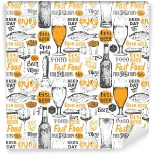 Pattern with beer, cider and snack in sketch style. Washable custom-made wallpaper