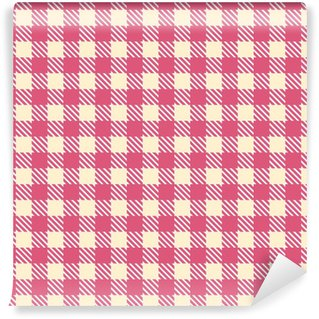 pink cream seamless gingham pattern Washable Custom-made Wallpaper