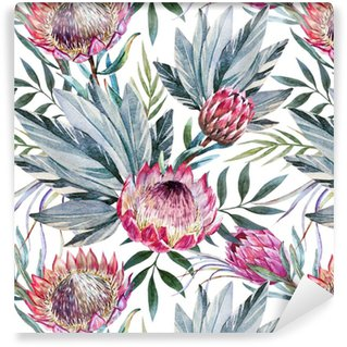 Raster tropical protea pattern Washable Wallpaper