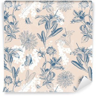 retro flower vector illustration Washable Custom-made Wallpaper