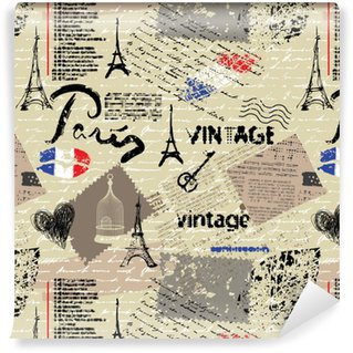 Seamless background pattern. Imitation of a vintage scrapbook collage with a Paris lettering. Washable Custom-made Wallpaper