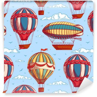 seamless background with colorful balloons and airships Washable custom-made wallpaper