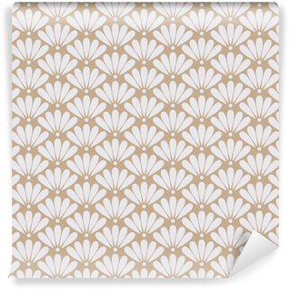 Seamless beige oriental floral pattern vector Washable Custom-made Wallpaper