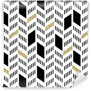 Seamless Chevron Pattern. With Glittering Gold and thin lines Washable Custom-made Wallpaper
