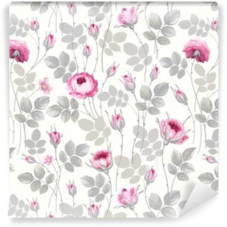 seamless floral pattern with roses in pastel colors Washable custom-made wallpaper