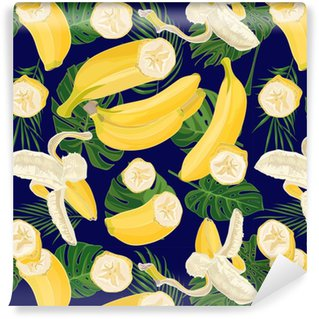 Seamless hand drawn tropical pattern with palm leaves, jungle exotic leaf and banana fruit on dark background Washable Custom-made Wallpaper