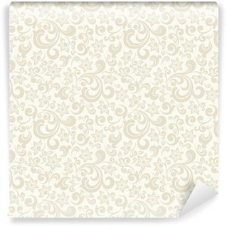 Seamless light background with beige pattern in baroque style. Vector retro illustration. Ideal for printing on fabric or paper. Washable custom-made wallpaper