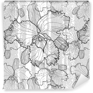 Seamless monochrome vector pattern from orchids Washable custom-made wallpaper