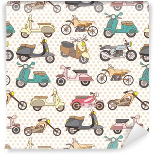 seamless motorcycle pattern Washable Custom-made Wallpaper