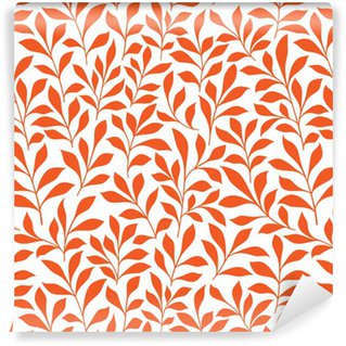 Seamless orange wild herbs pattern Washable Custom-made Wallpaper