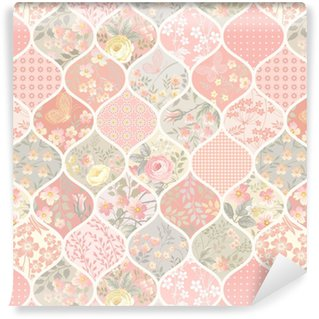 seamless patchwork pattern with flowers and butterflies Washable custom-made wallpaper