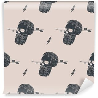 Seamless pattern background of vintage skull hipster with arrow. Graphic design for wrapping paper and fabric texture of shirt. Vector Illustration Washable Custom-made Wallpaper