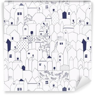 Seamless pattern. Figure cities in vintage style. Washable Wallpaper