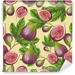 Seamless pattern of hand drawn fig Washable Custom-made Wallpaper