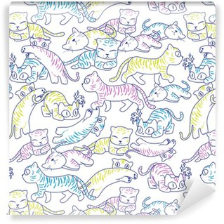 Seamless pattern of wild cat Washable custom-made wallpaper