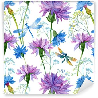 seamless pattern. watercolor blue flowers and dragonflies Washable Custom-made Wallpaper