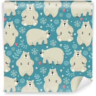 Seamless pattern with a polar bear Washable custom-made wallpaper