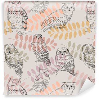 Seamless pattern with acacia branches and wild owls Washable custom-made wallpaper