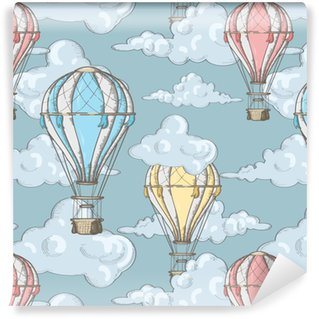 seamless pattern with balloons and clouds in the sky Washable custom-made wallpaper