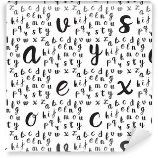 Seamless pattern with black alphabet letters Washable custom-made wallpaper