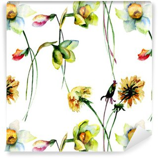 Seamless pattern with Narcissus and Dandelion flowers Washable Custom-made Wallpaper