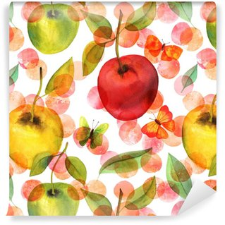 Seamless pattern with watercolor apples and butterflies Washable custom-made wallpaper