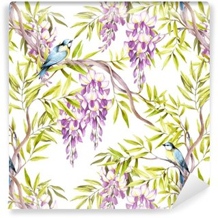 Seamless pattern with wisteria. Hand draw watercolor illustration Washable Wallpaper