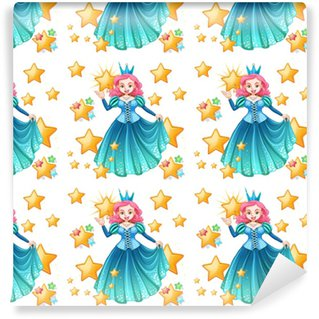 Seamless queen in blue dress and stars Washable custom-made wallpaper