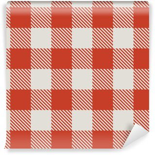 Seamless red and white tablecloth vector pattern. Washable Custom-made Wallpaper