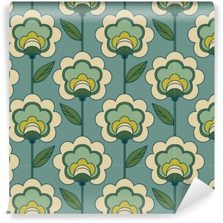 seamless retro floral pattern Washable custom-made wallpaper