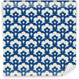 seamless retro pattern with floral elements Washable custom-made wallpaper