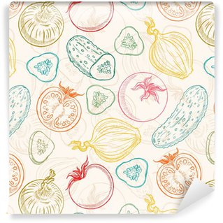 seamless sketch vegetables Washable Custom-made Wallpaper
