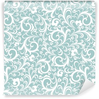 Seamless turquoise background with white pattern in baroque style. Vector retro illustration. Ideal for printing on fabric or paper. Washable Custom-made Wallpaper