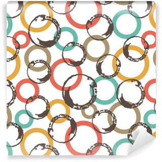 Seamless vector pattern with colorful circles. Washable Custom-made Wallpaper