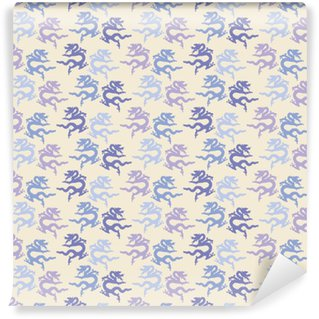 Simple vector seamless dragon pattern. Print. Cloth design, wallpaper. Washable custom-made wallpaper