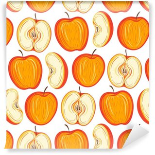Stylized apples seamless pattern. Hand drawn decorative background with colorful fruits. Vector illustration Washable Custom-made Wallpaper