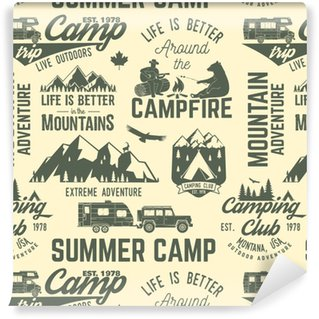 Summer camp seamless pattern or background. Washable Custom-made Wallpaper