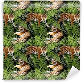 Tigers in Tropical Flowers and Palm Leaves Background, Seamless Pattern in vector Washable Custom-made Wallpaper