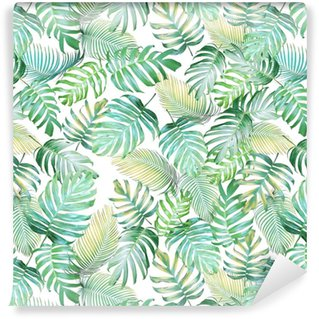 Tropical leaves seamless pattern of Monstera philodendron and palm leaves in light green-yellow color tone, tropical background. Washable Wallpaper