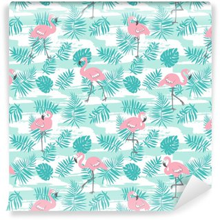 Tropical seamless pattern with pink flamingos and green palm leaves. Vector design for fabric, wrap paper or wallpaper. Exotic Hawaii art background. Washable Wallpaper