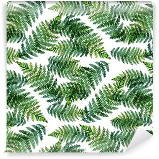 Tropical watercolor abstract pattern with fern leaves Washable Custom-made Wallpaper