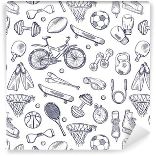 Vector doodles hand drawn seamless pattern of different sport accessories Washable Custom-made Wallpaper